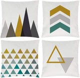 EZVING Modern Simple Yellow Geometric Style Cotton Linen Burlap Vibrant Orange Decorative Throw Pillow Covers 16x16 Inches Set of 4
