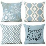 Hexagram Home Decorative Pillow Covers 18 x 18 Inch Set of 4 Blue Modern Geometric Soft Cotton Linen Throw Pillow Covers Cushion Case for Couch Sofa Living Room Patio Indoors Outdoors Style Home Decor