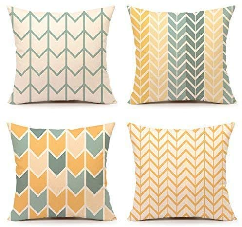 Delia32Agnes Yellow Accent Throw Pillow Cover Chevron Simple Geometric Linen Throw Pillow Covers 18 x 18 Set of 4 Decorative Couch Pillows