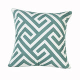 Taisier Home Pack of 2 Cotton Embroidered Decorative Throw Pillow Cover Cushion Cover for Couch Sofa Living Room Geometric Maze Pattern Pillowcase 18 x 18 Inches Aqua