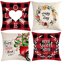 ULOVE LOVE YOURSELF Pack of 4 Black Geometric Decorative Throw Pillow Covers Indoor/Outdoor Cushion Covers Modern Home Decorative Pillowcases 18 x 18 Inch (45 x 45 cm) for Couch Sofa Bed Porch