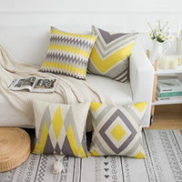 Yumin Throw Pillow Cases Cushion Cover Modern Geometric Linen Home Decor Yellow Grey 18 x 18 Inch Set of 4