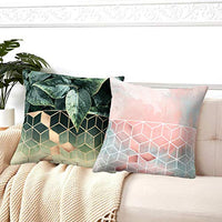 Symiiaus Throw Pillow Covers Cushion Cases for Home Couch Sofa Bed Chair Decoration Pillowcases Farmhouse Manual Hand Painted Colorful Geometric Trellis Chain Print 18 x 18 Inch Set of 2 Pink & Blue
