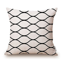 "Elviros Cotton Linen Home Decorative Throw Pillow Case Cushion Cover for Sofa Couch, Black Geometric Lines, 18"" x 18"""