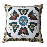 Orange Elephant Throw Pillow Cover Brilliantly Colored Decorative Geometric Embroidered Cotton Linen Blend Cushion Sham for Sofa, 18 x 18 Inch (Yellow Diamond)