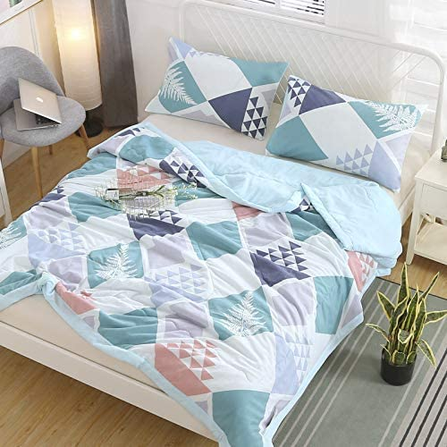 KFZ Quil Set Full Queen Comforter Set -Super Soft Cotton Cover Filled with High-Grade Microfiber- Triangle Geometric Print – Breathable Bedding Set for Kids and Adults (1 Duvet + 2 Pillowcases)
