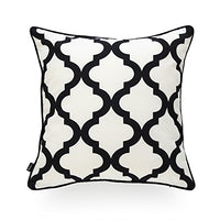 "Hofdeco Indoor Outdoor Pillow Cover ONLY, Water Resistant for Patio Lounge Sofa, Black White Moroccan Quatrefoil, 18""x18"""