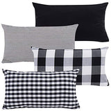 "Throw Pillow Covers Cases Geometric Stripe Tartan Checkered Buffalo Check Plaid Pillowcases Cushion Covers Decorative Throw Pillow Covers Waist Pillow Covers Cotton Linen,Set of 4 (Black (18x18""))"