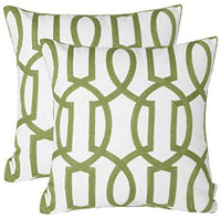Mika Home Pack of 2 Embroidery Geometric Links Accent Decorative Throw Pillow Cover Sofa Cushion Case for 18X18 Inserts Cotton Fabric Green White