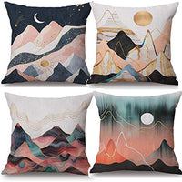 QINU KEONU Hill and Sun Geometric Patterns Cotton Linen Throw Pillow Case Cushion Cover Home Sofa Decorative 18x 18 Inch