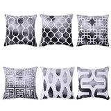 Munzong Soft Light Velvet Throw Pillow Cover, Set of 6 Simple Modern Geometric Fuzzy Cozy Grey Pillowcase 18 x 18 Inch Outdoor Decorative Square Cushion Pillow Case for Bed Car Home Decoration Gift