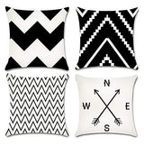 JOJUSIS Modern Geometric Throw Pillow Covers Cotton Linen Home Decor 18 x 18 inch Set of 4 Home