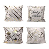 Throw Pillow Covers Decorative Pillow Cases Grey Geometric Soft Solid Square Cushion Covers for Sofa Couch Bed Farmhouse set of 4, 18 x 18 Inch
