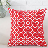TAOSON Navy Blue Moroccan Quatrefoil Accent Pattern Cushion Cover Pillow Cover Pillowcase Cotton Canvas Pillow Sofa Throw White Printed with Hidden Zipper Closure Only Cover 18x18 Inch 45x45cm