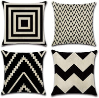INSHERE Farmhouse 4 Pack Simple Black and White Geometric Wave Throw Pillow Covers Cases for Couch Sofa Bed Home Decor, Square Cotton Linen Cushion Cover 18 X 18 Inches