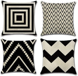 INSHERE Farmhouse Modern Simple Geometric Decorative Throw Pillow Covers Square Cotton Linen Cushion Covers Outdoor Sofa Home Pillow Covers 18 X 18 Inch,4 Pack