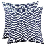 SLOW COW Cotton Embroidery Throw Pillow Covers, Geometric Diamonds Navy Decorative Throw Pillow Cases for Sofa, 18x18 Inches, Set of 2