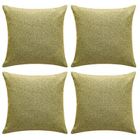 Deconovo Handmade Color Knit Faux Linen Geometry Pattern Cushion Covers Squre Throw Pillow Cases 18 x 18 Inch Green Melange Set of 4