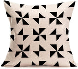 Modern Simple Geometric Style Pillow Covers U-Love Black &Beige Stripe Soft Linen Burlap Square Throw Pillow Cases, 18 x 18 Inches, Set of 6 (Geometric-1)