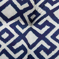 Navy Blue White Geometric Print Outdoor Deep Seating Cushion Set Seat Back Cushion for Deep Seat Patio Furniture
