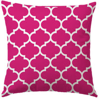 "7COLORROOM Set of 2 Lattice Printed Throw Pillow Cover Modern Quatrefoil Petal Pattern Cushion Cover Pink Geometric Home Decor Pillowcases 18""x18""(Pink)"