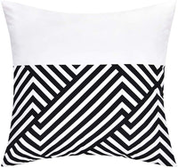 Yastouay Throw Pillow Covers Modern Geometric Pillowcase Set of 4 Throw Cushion Cover for Bed Couch Sofa Office Decor, 18 × 18 Inches, Black and White