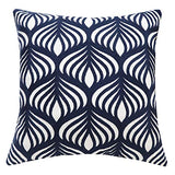SLOW COW Cotton Embroidery Cushion Cover Decorative Throw Pillow Cover Geometric Invisible Zipper Pillow Cover for Living Room, 18x18 Inch, Navy Blue