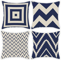 DUSEN Decorative Throw Pillow Covers for Couch, Sofa, or Bed Set of 4 18 x 18 inch Simple Blue and Beige Geometric Wave Cotton Linen Cusion Cover (Blue & Beige Stripes)