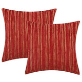 Yeiotsy Pillow Cases Bohemia, Pack of 2, Modern Striped Throw Pillow Covers Geometric Cushion Covers for Sofa Holiday Party Decoration (Red, 18 X 18 Inches)