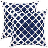 Isabella Beddings Decorative Throw Pillow Covers for Couch Sturdy Cotton Fabric Both Side Hand Printed Cushion Cover 18 x 18 Inches, Blue, Toss Pillow - Geometric Design - Set of 2 Accent Home Decor