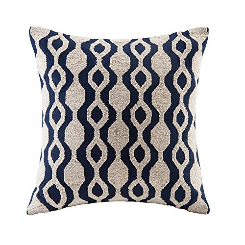 blue page Linen Navy Embroidered Decorative Throw Pillows Covers Square Cushion Cases for Sofa Couch Bed Living Room Modern Decor Geometric Elegant Floral Pillow Sham 18x18