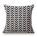 18 X 18 Inch Black and White Simple Geometric Designs Cotton Linen Decorative Throw Pillow Cover Cushion Case Pillowcase(A, 19)