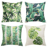 "famibay Decorative Pillow Cover Ocean Park Theme Square Cotton Linen Throw Pillow Case Cushion Cover 18 x 18 (Water Printing Flower, Pack of 4 18""x18"")"
