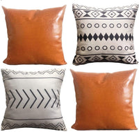 Sugar & Suede Home Company Throw Pillow Set | Faux Leather Throw Pillows | Cognac Throw Pillow Covers | Premium Quality | Geometric Boho | 4 Pack | 18X18 | Vegan Leather