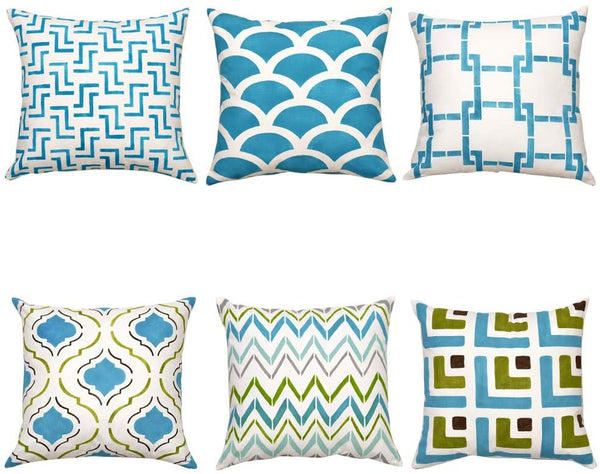 FanHomcy Light Blue Geometric Throw Pillows Covers for Bed Couch Dorm Living Room Farmhouse Solid Accent Pillow Cases Shams Set of 6, Sector Wave Quatrefoils