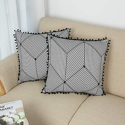 BONSTRAP Throw Pillow Covers Pom Poms Geometric Couch Pillow Cases Black and White Velvet Sofa Cushion Cover Bohemian Decorative Super Soft Pillowcases 18x18 Inch