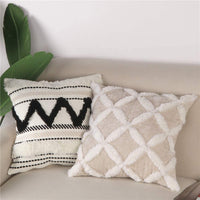 Sungea Decorative Velvet Throw Pillow Cover, 18 x 18 Luxury Tufted Velvet Pillowcase Soft Boho Textured Geometric Cushion Cover for Sofa Living Room Bedroom