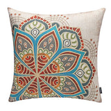 "TRENDIN 18"" X 18"" Vintage Colorful Boho Geometric Flower Cotton Linen Throw Pillow Case Cushion Cover Home Decoration (PL041TR)"