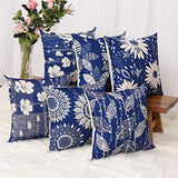 Master Pillowcase Modern Geometric Flower Printing Durable Cotton Linen Decorative Throw Pillow Cover Black Square Cushion Case for Couch Home 18 x 18 Inch Set of 6