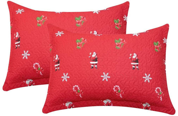 "JSTextiles Christmas Pillowcases Queen/Full Size Bedroom Decro Pillow Shams Standard Santa Cluas with Snow Gift 20"" 26"""