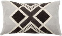 "Rayroger Cotton Linen Embroidery Decorative Throw Pillow Case Aztec Tribal Print Cushion Cover Lumbar Pillowcase for Couch Bed Car, 12"" x 20"", Grey"