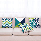Wilproo Decorative Green Blue Abstract Throw Pillow Covers 18 x 18 Inch Set of 4, Geometric Cotton Linen Outdoor Cushion Cover Square Pillowcase for Car Sofa Couch Home Decor