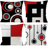 EZVING Set of 4 White Black Red Modern Abstract Geometric Throw Pillow Covers 18x18 Inches Decorative Cushion Pillow Cases Square Pillocases for Bed Sofa