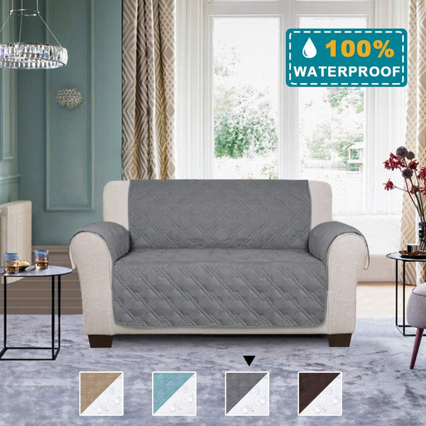 100% Waterproof Sofa Slipcover Loveseat Cover 2 Cushion Couch Cover Furniture Protector for Pets Kids Children Dog Cat, Quilted with Non Slip Backing (Loveseat, Grey)