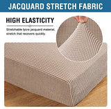 H.VERSAILTEX Super Stretch Stylish Cushions Covers/Furniture Cover Spandex Jacquard Small Checked Pattern Super Soft Slipcover Washable Individual (3-Piece Sofa Cushion, Chocolate)