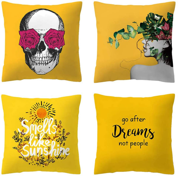 Shmily Girl Decorative Throw Pillow Covers Set of 4, Home Decor Yellow Geometric Throw Pillowcases for Couch/Sofa/Bedroom/Living Room/Kitchen/Car Square Pillow Case 18 x18 inch (Yellow15)