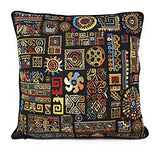 "DaDa Bedding Tapestry Throw Pillow Cover - Set of 2 Ethnic Ornament Geometric Solid Black - Woven Unique Pattern Design Cushion Cases - 16"" x 16"" (18118)"