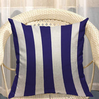Mugod Coarse Stripe Decorative Throw Pillow Cover Case Geometric Line Classic Elegant Navy Blue and White Cotton Linen Pillow Cases Square Standard Cushion Covers for Couch Sofa Bed 18x18 Inch