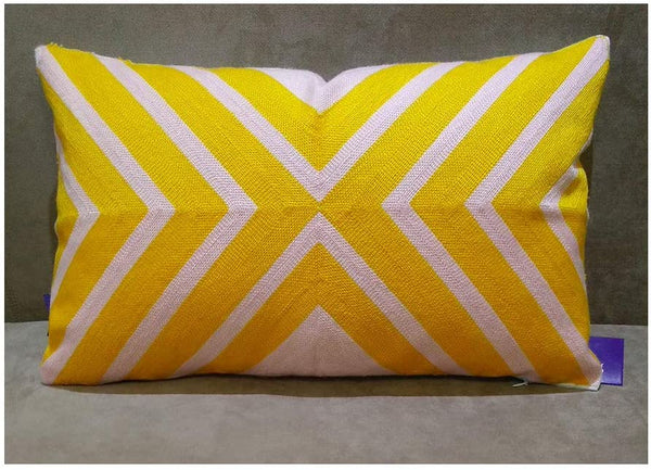 Aitliving Accent Bolster Pillowcase Coko Geometric Arrow Throw Pillow Cover Lumbar Embroidered Cotton Canvas, 1pc Mango Yellow/Pink 2 Tones Chevron 12x20, 30x50cm