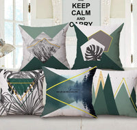 Geometric Mountain Throw Pillow Cover 18 x 18 inches Cotton Linen Square Cushion Covers Set of 4 Green